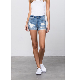Shorts 58 High Rise Frayed Hem and Cuffed Medium Wash Denim Shorts