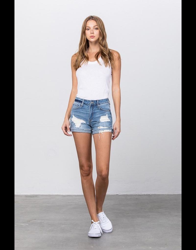 Shorts 58 High Rise Frayed Hem and Cuffed Medium Wash Denim Shorts