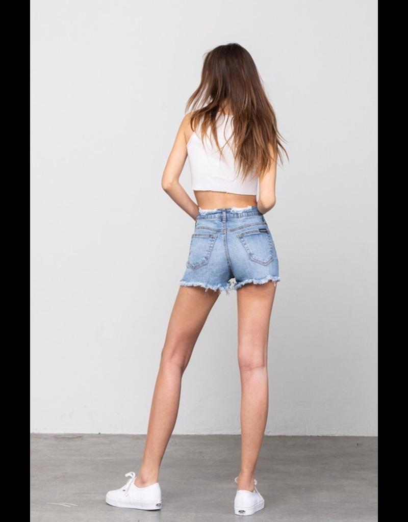 Shorts 58 High Rise Light Wash Frayed Hem Denim Shorts