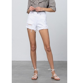 Shorts 58 High Rise White Moderate Distressed Denim Shorts