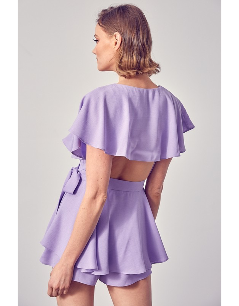 Rompers 48 Wrap & Open Back Lavender Romper