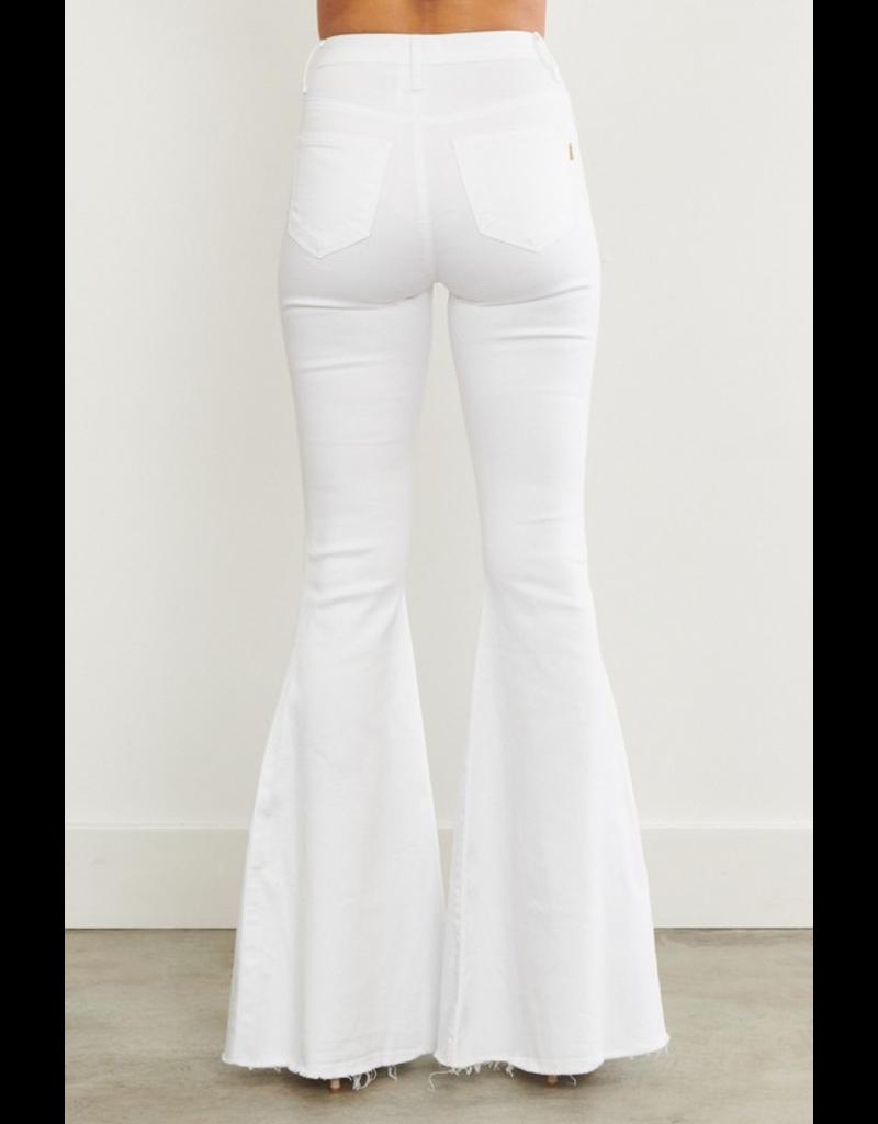 Pants 46 High Rise White Flare Denim W/Ripped Knee