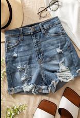 Shorts 58 High Waisted Dark Denim Distressed Shorts