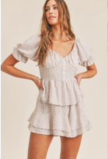 Rompers 48 Get Going Taupe Gingham Ruffle Romper