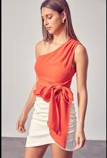 Tops 66 One Wish One Shoulder Tangerine Top
