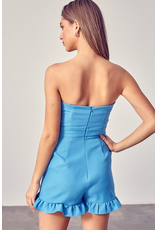 Rompers 48 Party With Me Ocean Blue Strapless Ruffle Romper