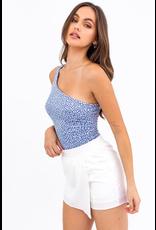 Tops 66 One Shoulder Blue Dottie Bodysuit