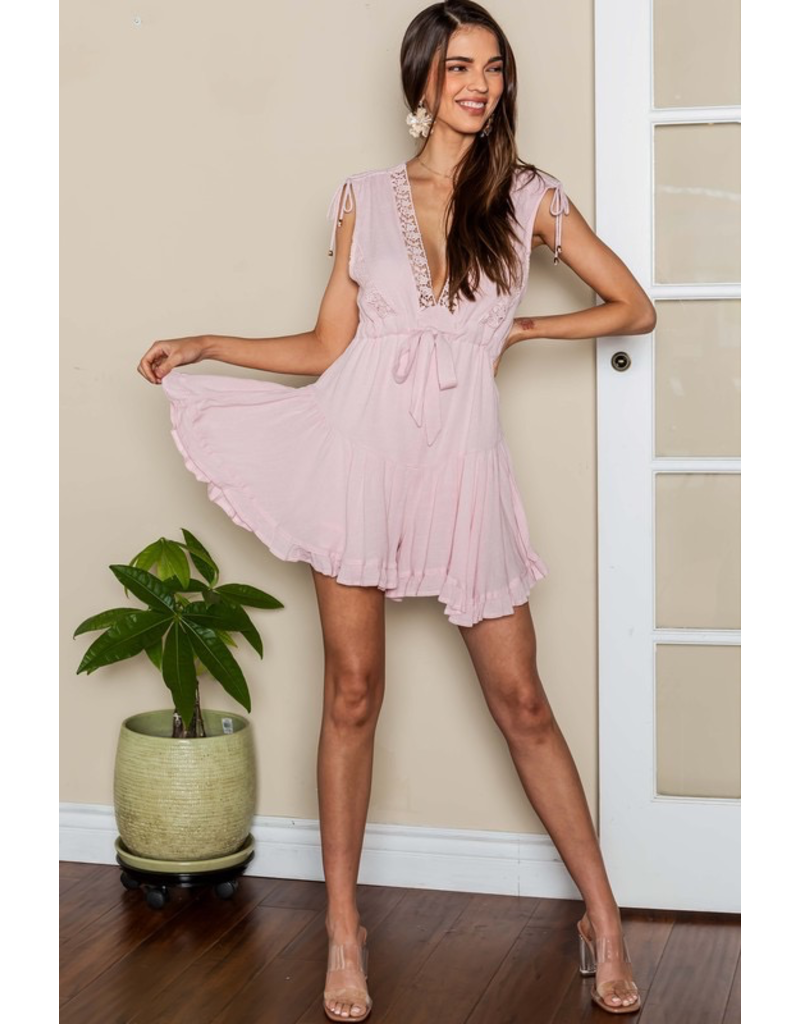 Rompers 48 Lace Party Romper (Availble In Blush Pink and Light Blue)