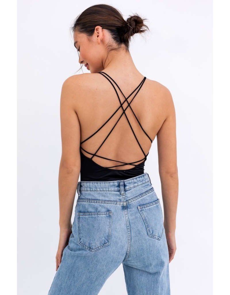 Tops 66 Strappy Back Black Bodysuit