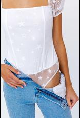 Tops 66 Star Power White Bodysuit