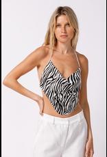 Tops 66 Zebra Print Open Back Top
