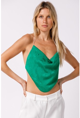 Tops 66 Floral Satin Open Back Green Top