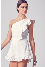 Rompers 48 Ready To Celebrate One Shoulder White Ruffle Romper