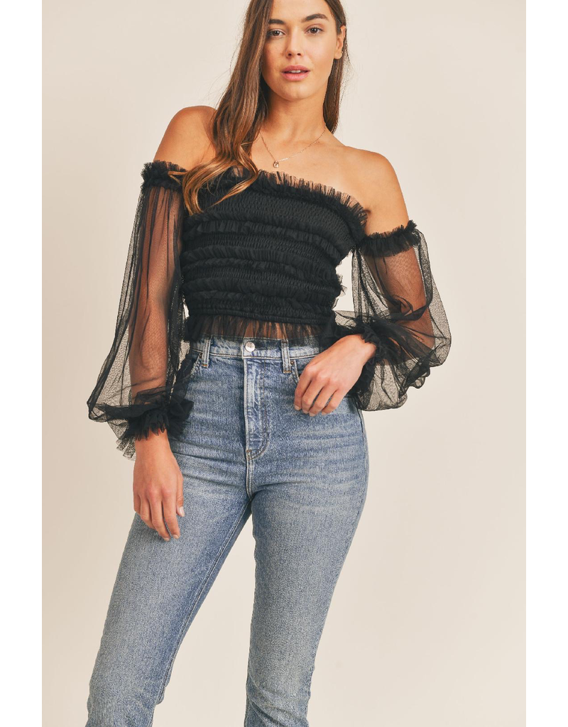 Tops 66 Mesh With Me Black Top