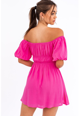 Dresses 22 Pretty In Pink Puff Sleeve Hot Pink Dress