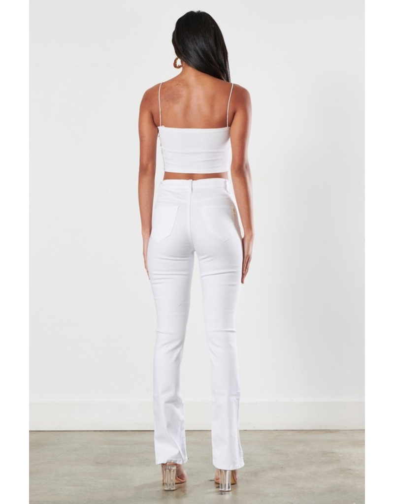 Pants 46 Best Summer Slide Slit High Waisted No Distress White Denim