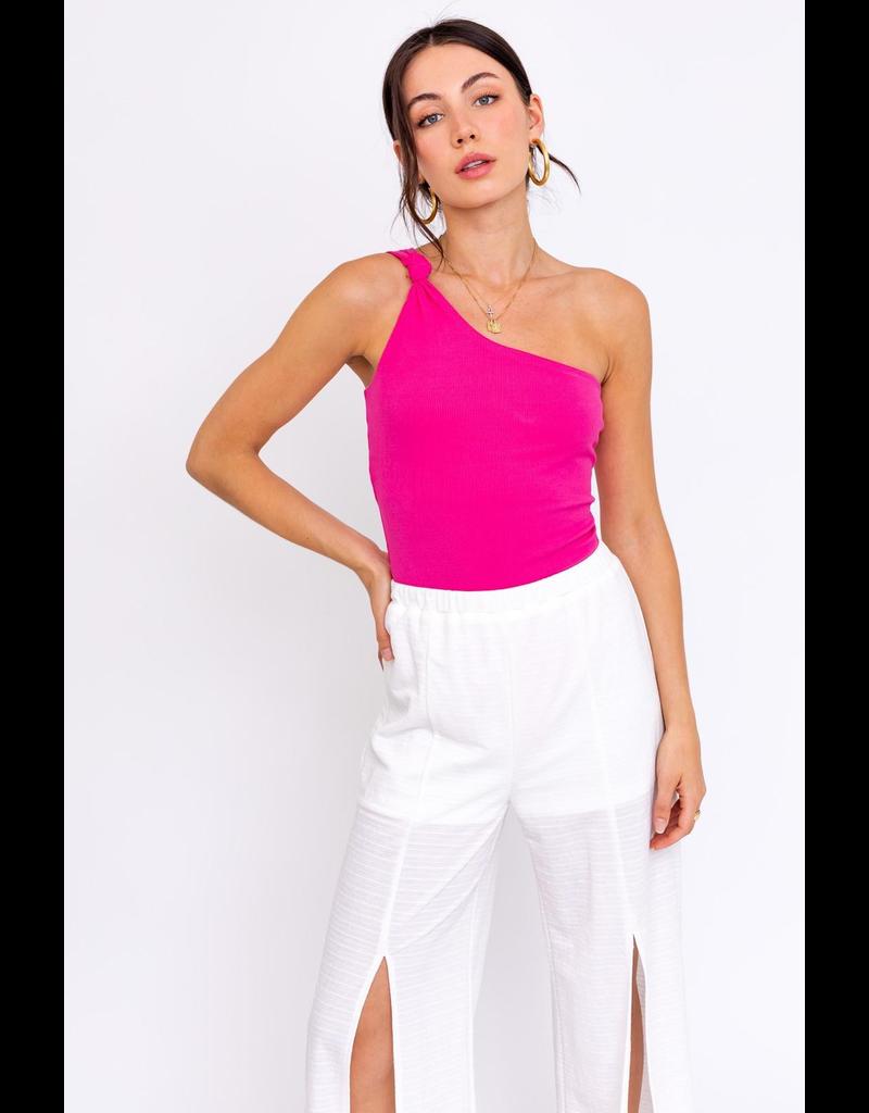 Tops 66 Hot Pink One Shoulder Bodysuit