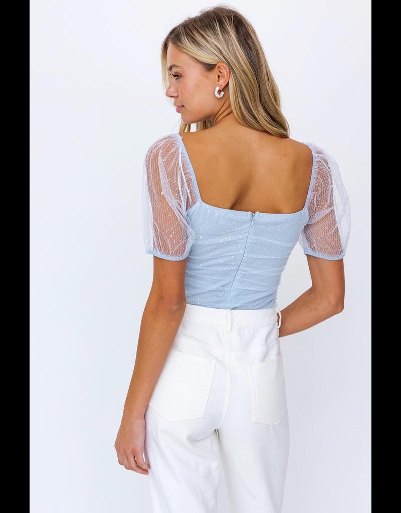 Tops 66 Baby Blue Summer Shimmer Bodysuit