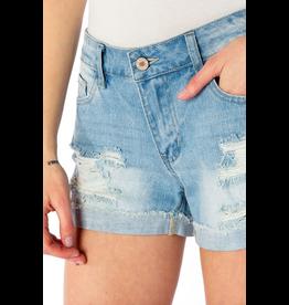 Shorts 58 KanCan Mid Rise Hem Detail Light Wash Denim Shorts