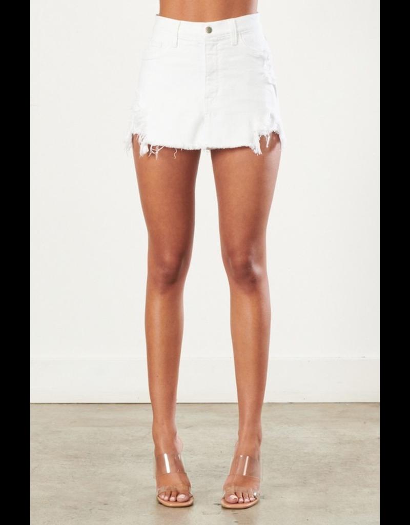 Shorts 58 High Waisted White Distressed Denim Skorts