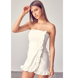 Rompers 48 Party With Me White Ruffle Strapless Romper