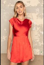 Dresses 22 Satin Dream Red Open Back Detail Dress