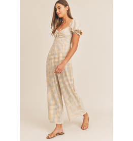 Jumpsuit Get It Girl Taupe Gingham Smocked Jumpsuit