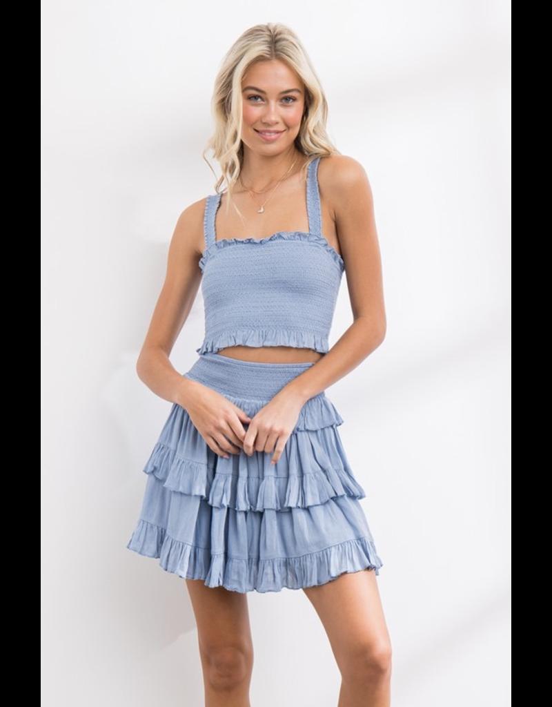 Skirts 62 Summer Smock Blue Ruffle Skirt