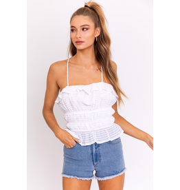Tops 66 Party Peplum White Top