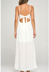 Dresses 22 Sunset On The Beach Crochet and Tie Back White Guaze Maxi Dress