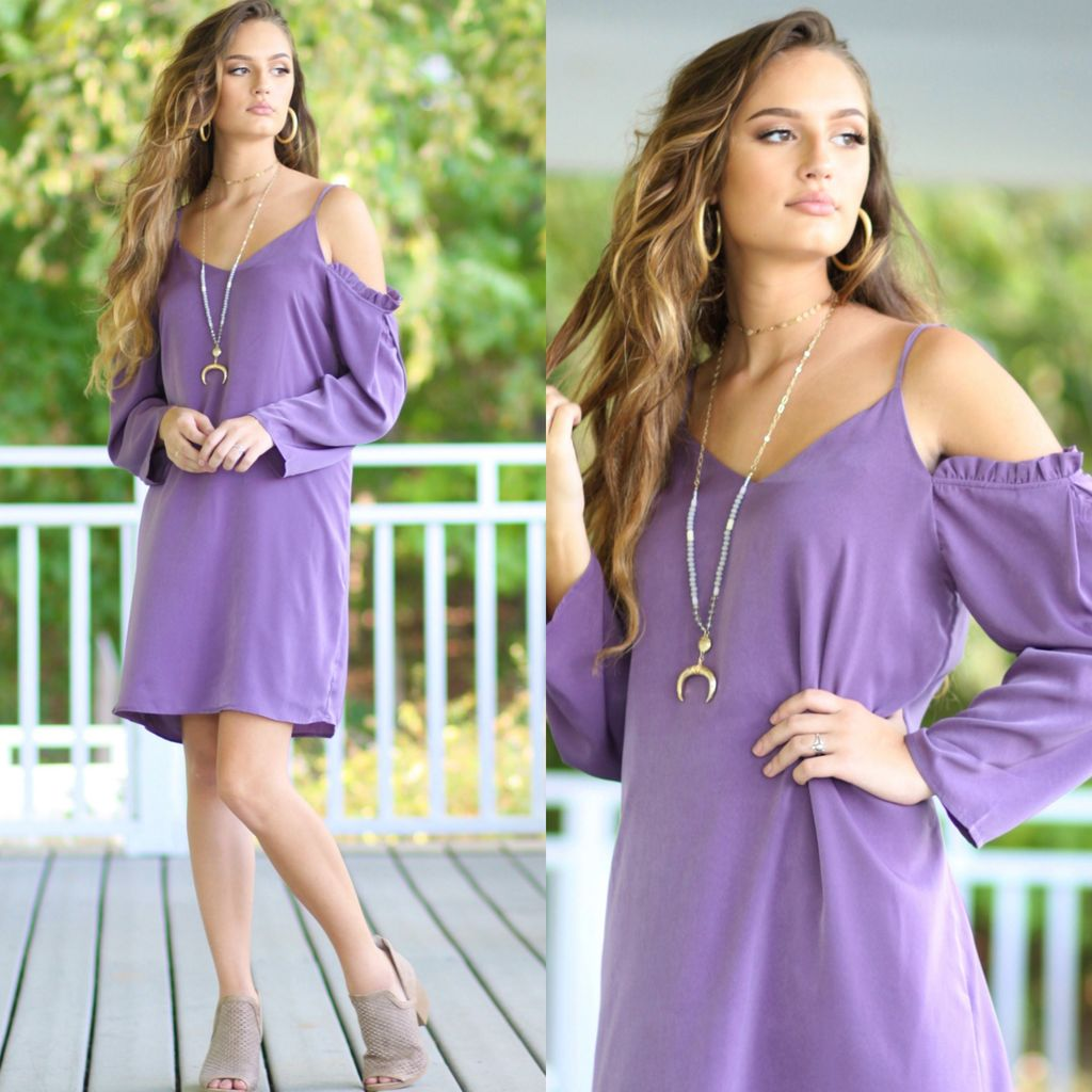 Dresses 22 Cold Shoulder Dusty Purple Dress