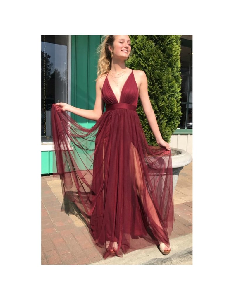 Dresses 22 Swept Away Burgundy Tulle Dress