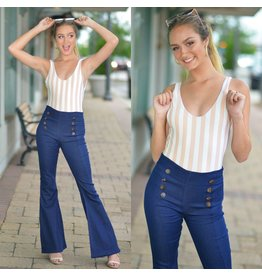 Pants 46 High Waisted Button Front Flare Denim