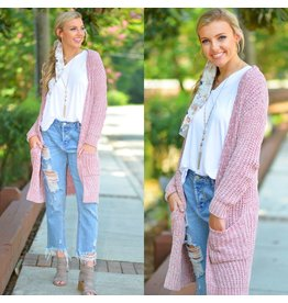 Tops 66 Chenille Blush Pink Cardigan