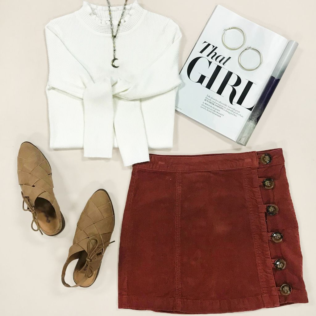 Skirts 62 Fall Corduroy Side Button Skirt