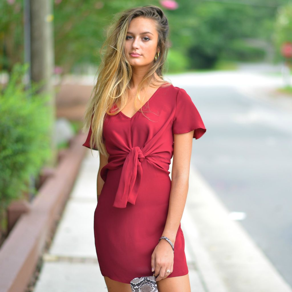 Dresses 22 Fall In Love Front Knot Burgundy Dress