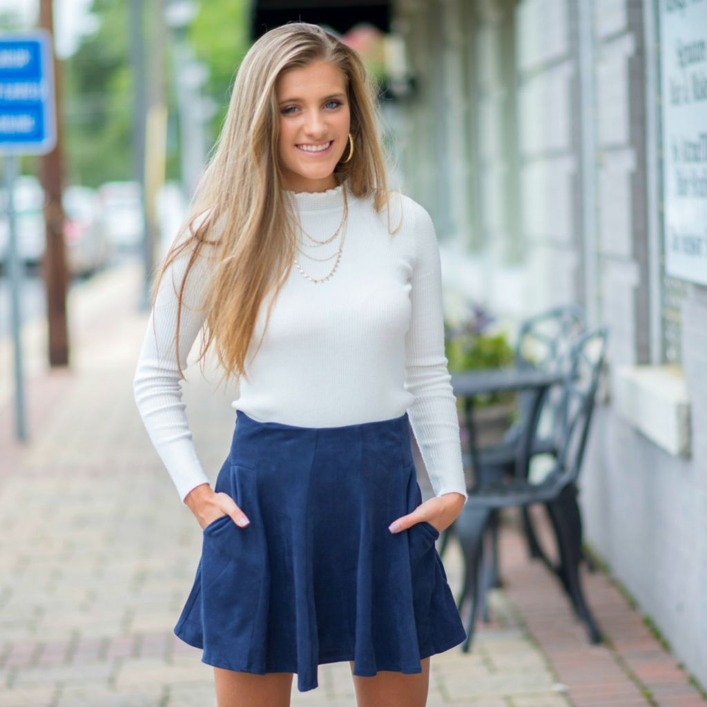 Skirts 62 Fit & Flare Fall Suede Navy Skirt