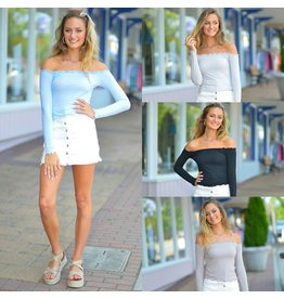Tops 66 Ruffle It Up Off Shoulder Ribbed Knit Top