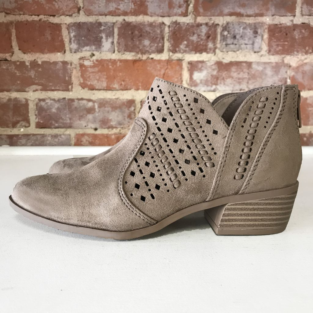 Shoes 54 Taupe Cut Out Suede Bootie