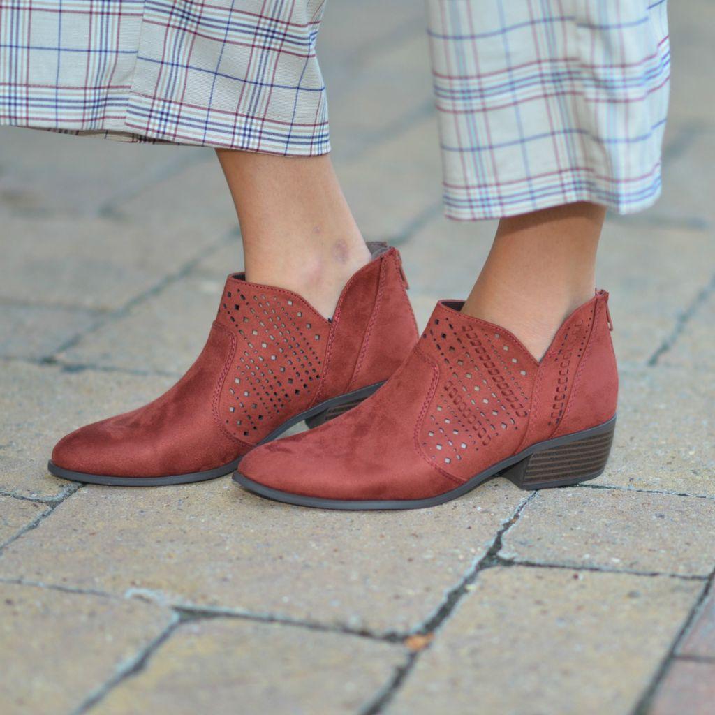Shoes 54 Autumn Maple Cut Out Suede Bootie