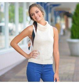 Tops 66 Fall Back Ivory Sleeveless Cowl Neck Sweater