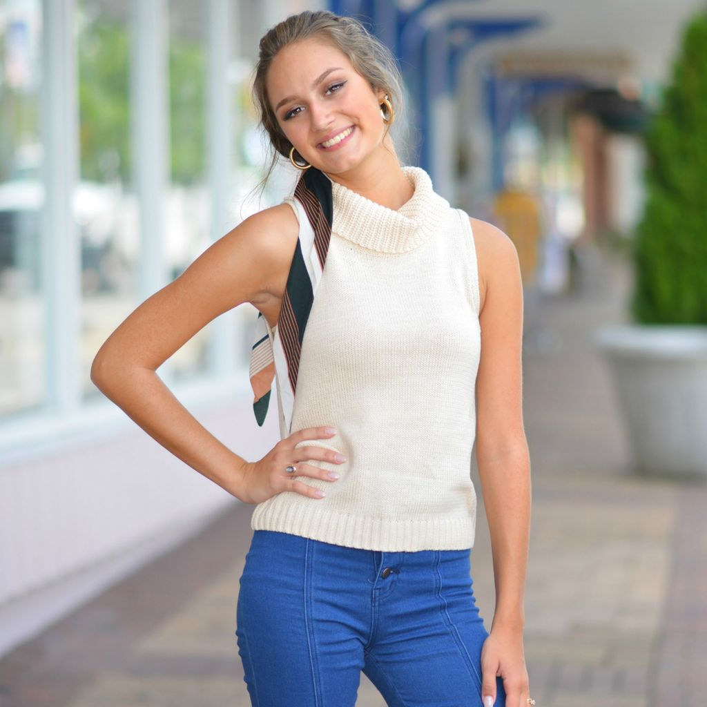 Tops 66 Fall Back Ivory Sleeveless Cowl Neck Sweater