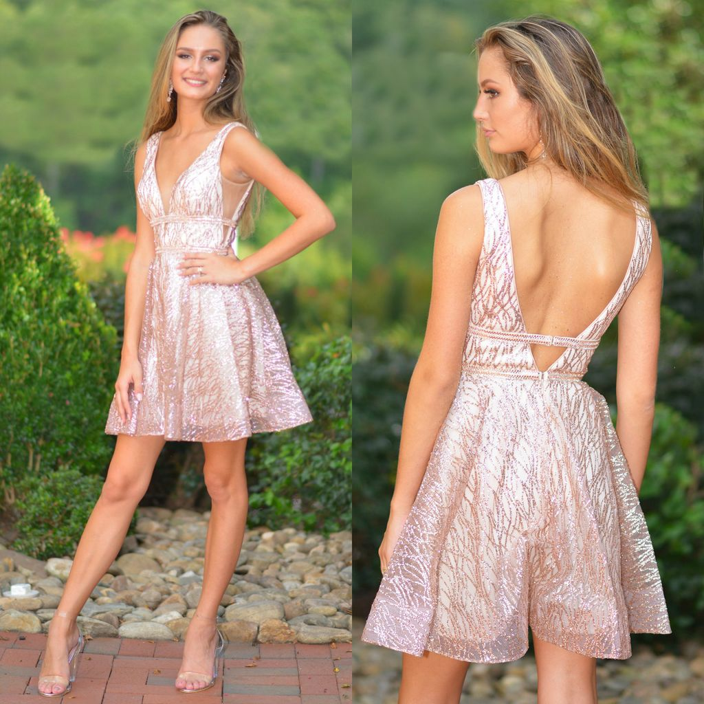 Formalwear Sparkle Rose Gold Party Dress