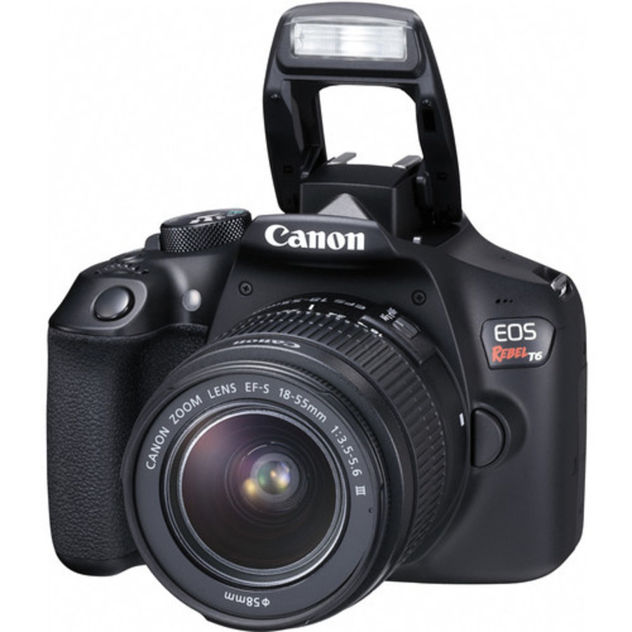 Canon Canon Eos Rebel T6 Dslr Camera With 18 55mm And 75 300mm Lenses Kit W 16gb Memory Card And Luminar 4