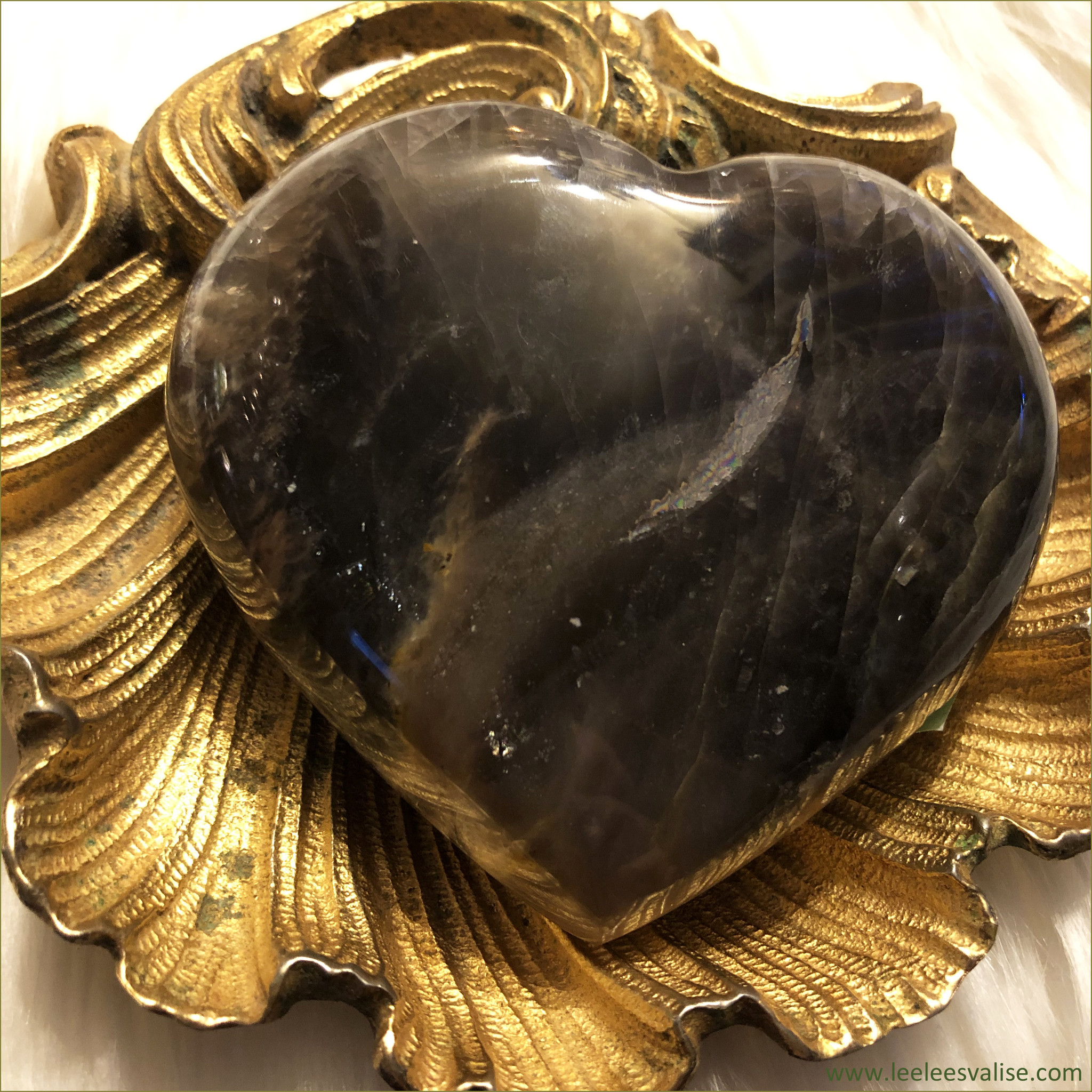 Black Moonstone Polished Heart B