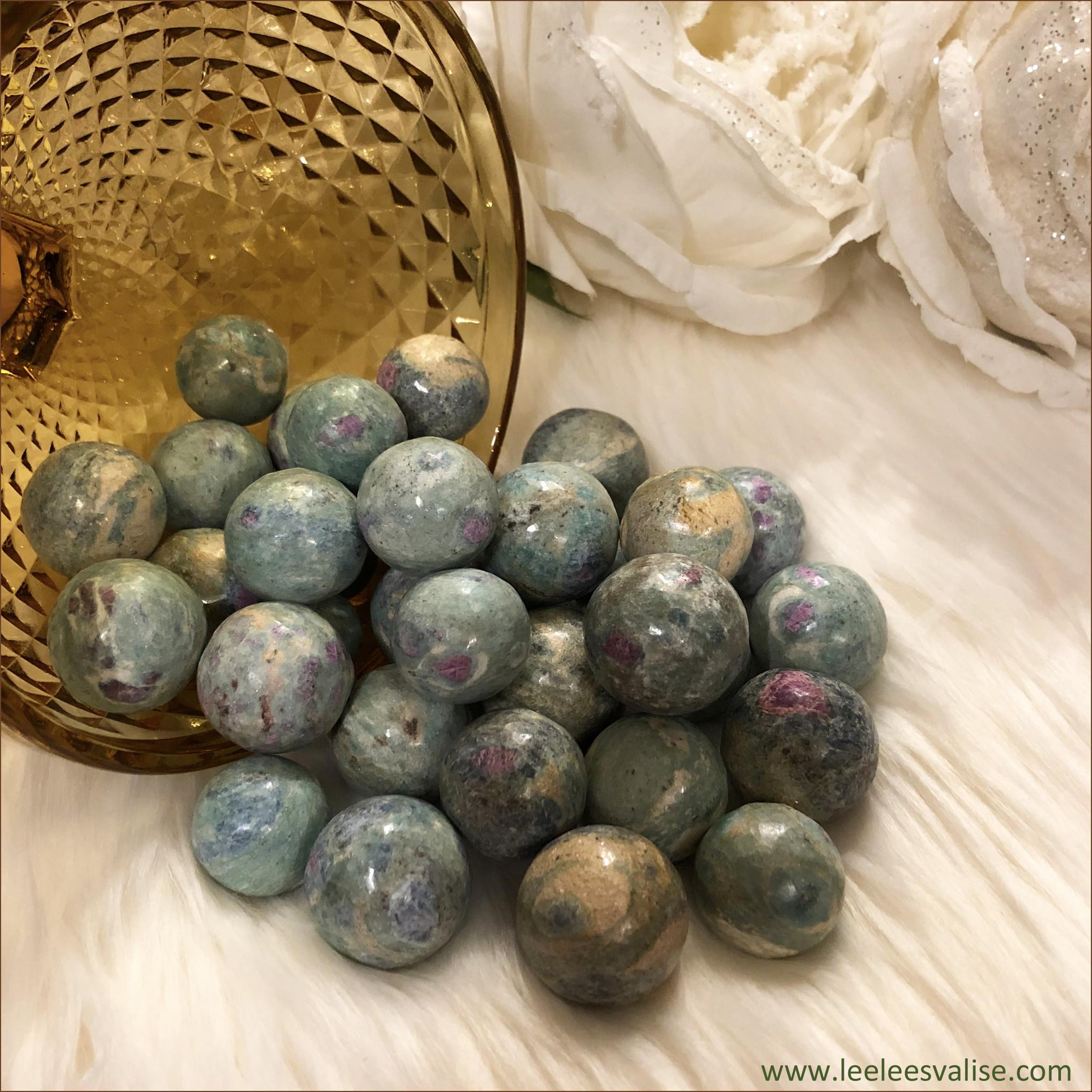 Ruby Fuchsite Spheres (Set of 3)
