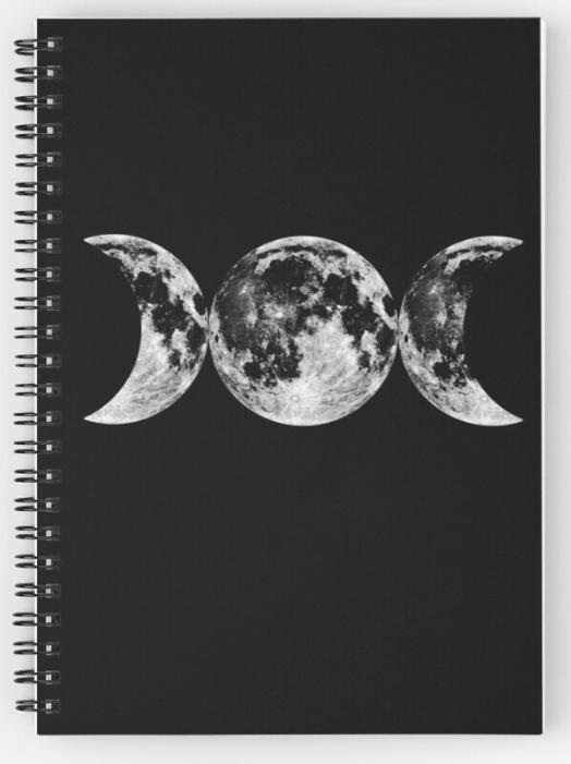 Triple Moon Goddess Symbol Spiral Notebook