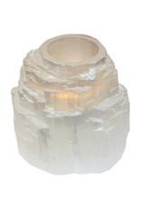White Tower Selenite Tealight Holder