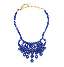 David Aubrey Glass Bead Bib Necklace in Cobalt