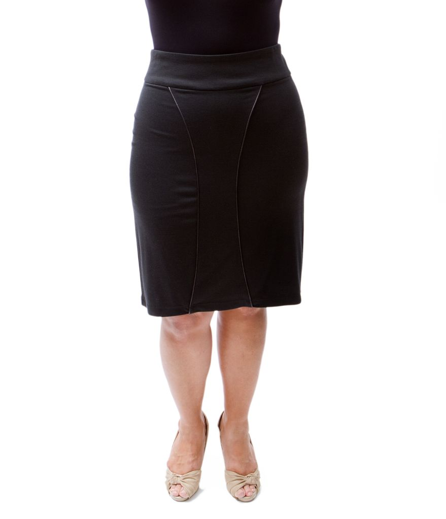 Lee Lee's Valise Linda High Waisted Skirt in Black Ponte